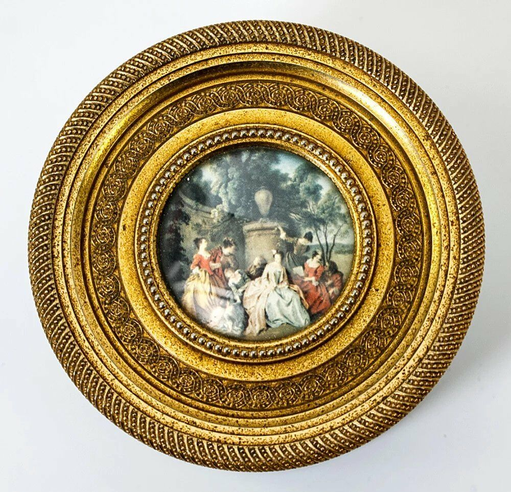 Antique Baccarat Opaline Vanity or Powder Jar, Dore Bronze, Miniature Painting
