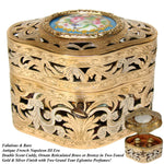 "Antique French Reticulated Bronze 4.5"" Scent Caddy, Floral Porcelain Medallion"