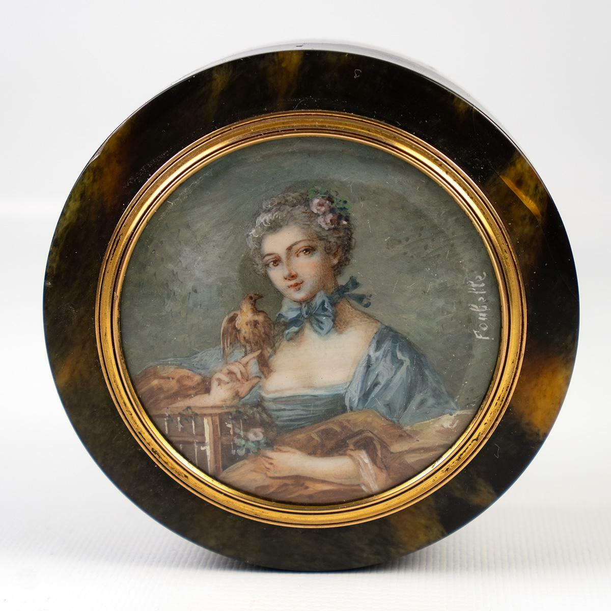 "Fine Antique French 3"" Table Snuff Box or Bonbon, Portrait Miniature with Parrot"
