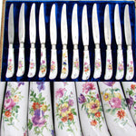 "Antique French Palais Royal Marked 12pc 8"" Table Knife Set, HP Porcelain Handles"