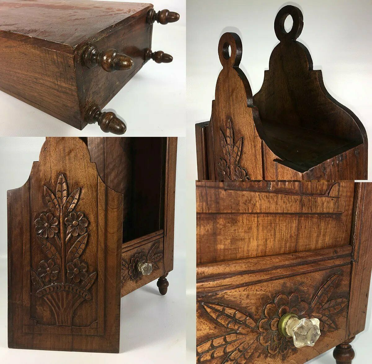 "Antique French Hand Carved 18.5"" Tall Salt Box, Cabinet, Flower Basket & Drawer"