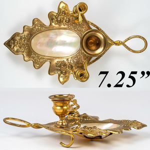Antique French Mother of Pearl Palais Royal Candle Holder, Brilliant Ormolu