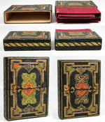Ornate Antique Italian Gilt Embossed Leather Calling or Business Card Case, Etui