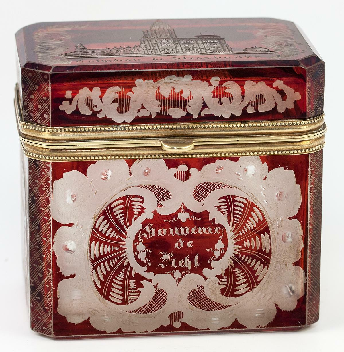 Antique Sugar Caddy Casket, Box: Bohemian or Egermann Spa Glass Souvenir, Gothic