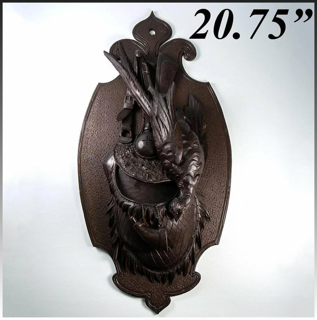 Antique Black Forest Carved Hunt Theme Wall Plaque, Pheasant, Game Scene, 20.75""