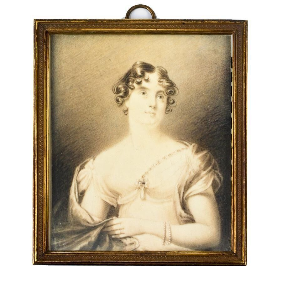 Antique Hand Painted Portrait Miniature in Grisaille (monochrome) in Frame