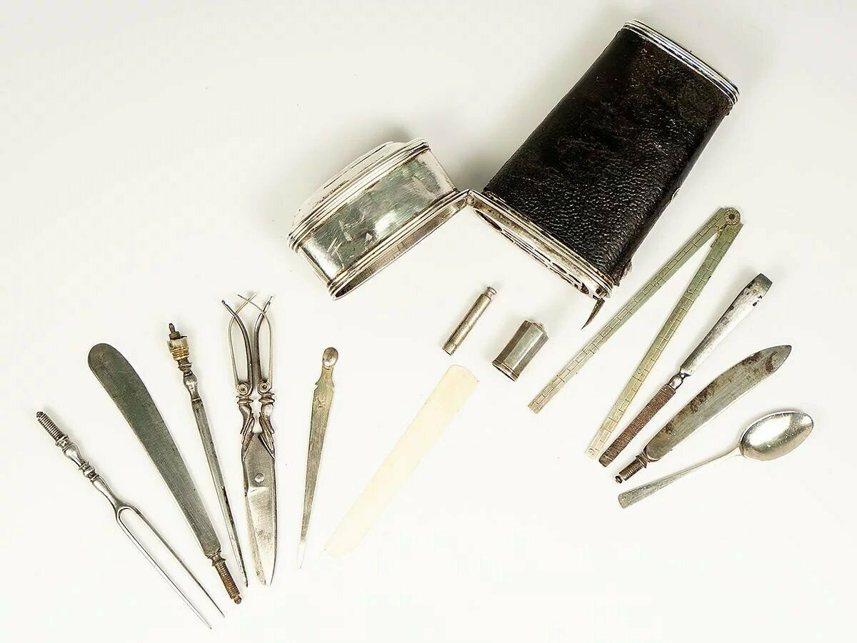 "c.1780-1810 Antique French Vest Pocket ""Nécessaire"", 13pc , Scissors, Knife, etc"