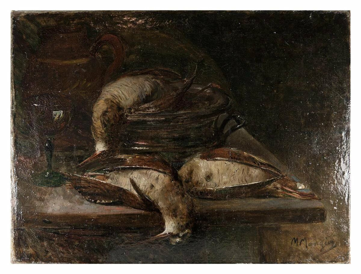 Superb 19th c. Antique French Oil Painting, Nature Morte Still Life with Birds