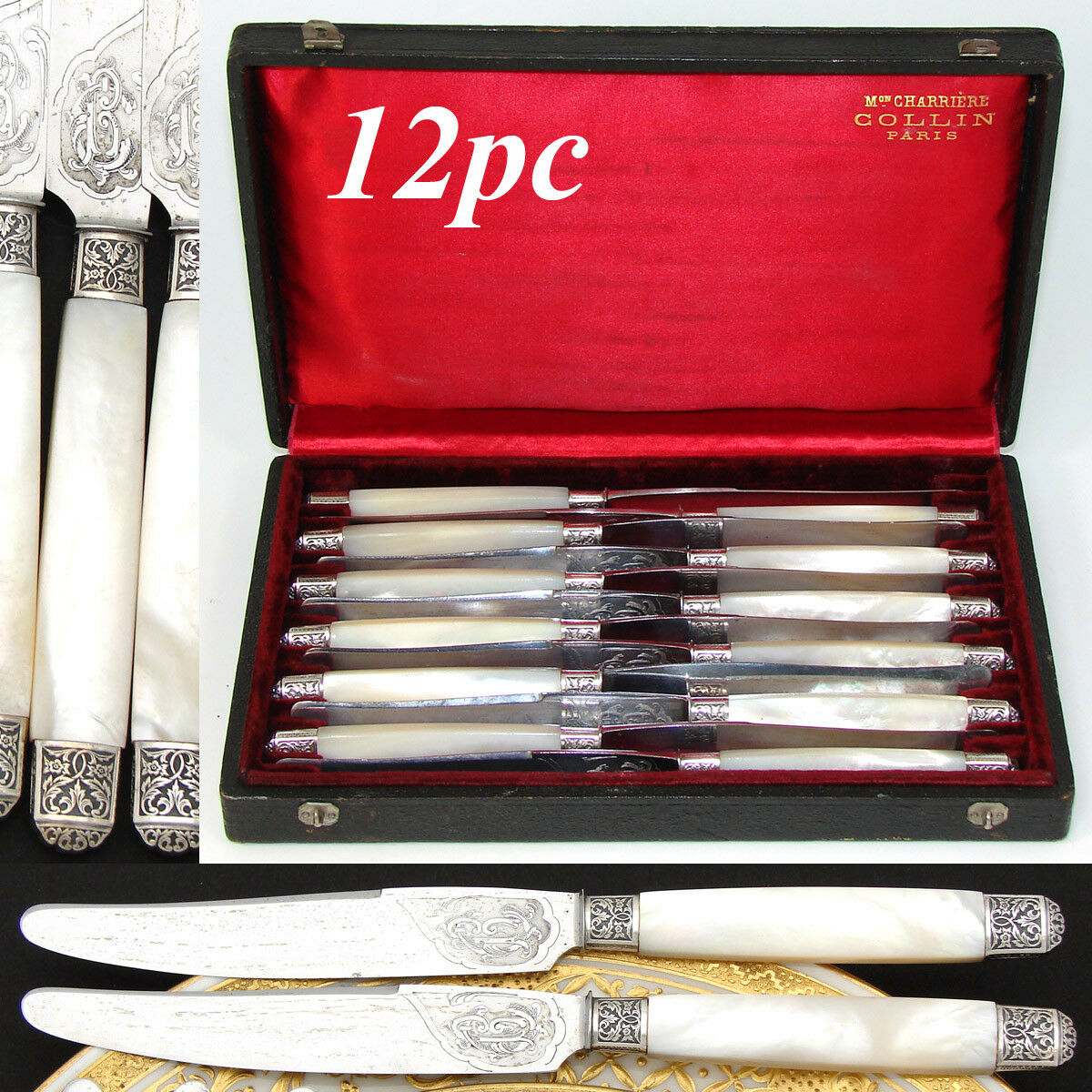 Antique French Sterling Silver & Pearl Handle 12pc Knife Set, Monogrammed Blades