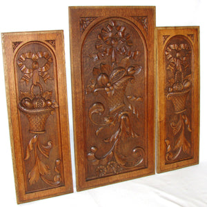 Fab Antique Country French Style Carved Oak Panels, 3pc, Bows, Ribbons & Baskets