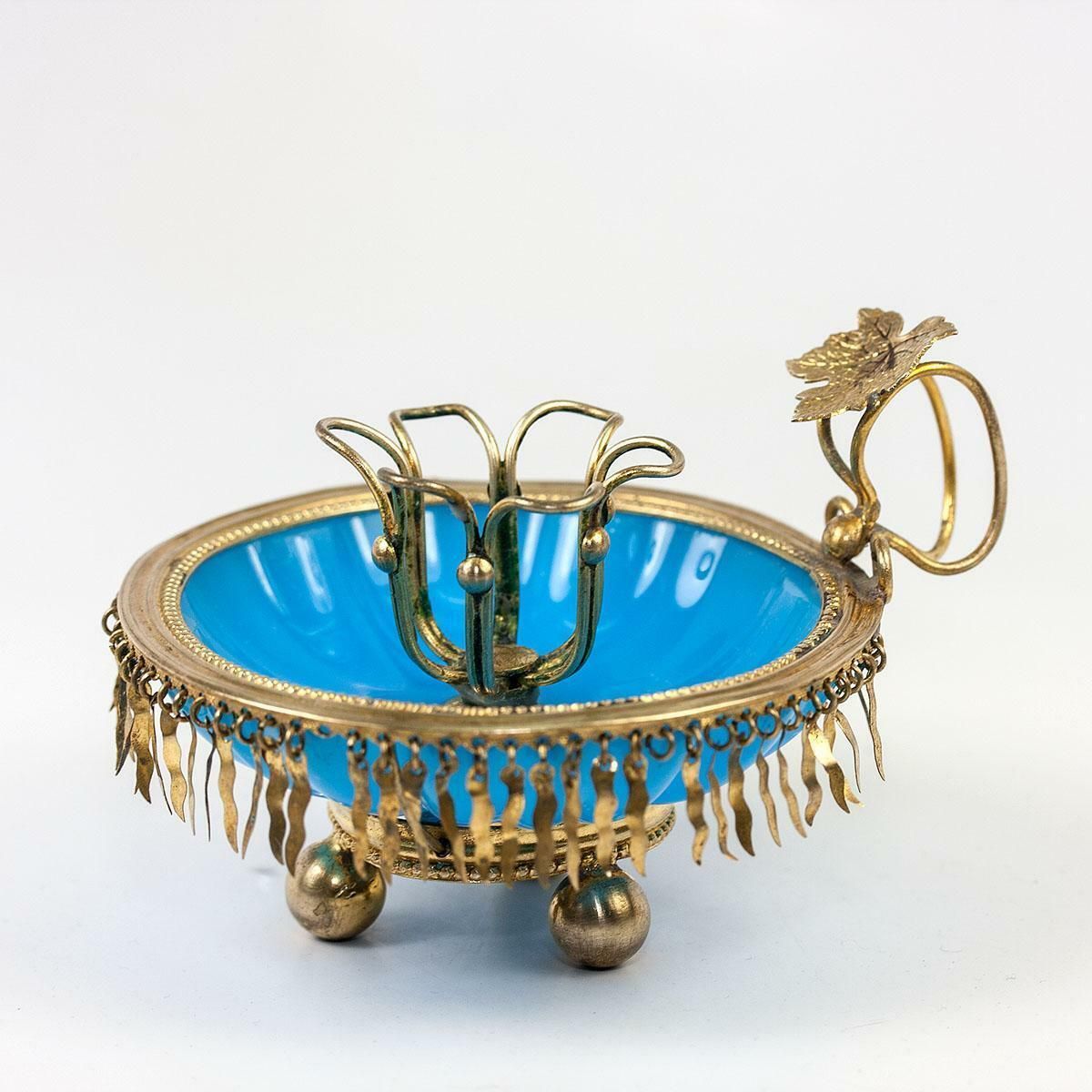 RARE Antique French Blue Opaline Candle Holder, Candlestick, Fringed Gilt Brass