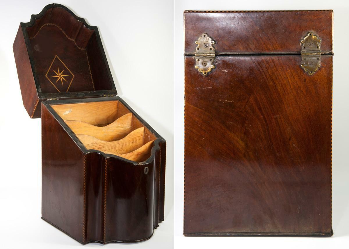 Elegant Antique English Upright Stationery Box, Like Knife or Cutlery Chest
