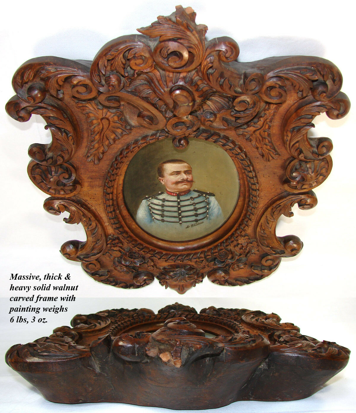 "Antique Carved Black Forest 22"" Frame, Military Portrait in Oil, B. Ruffini 1906"