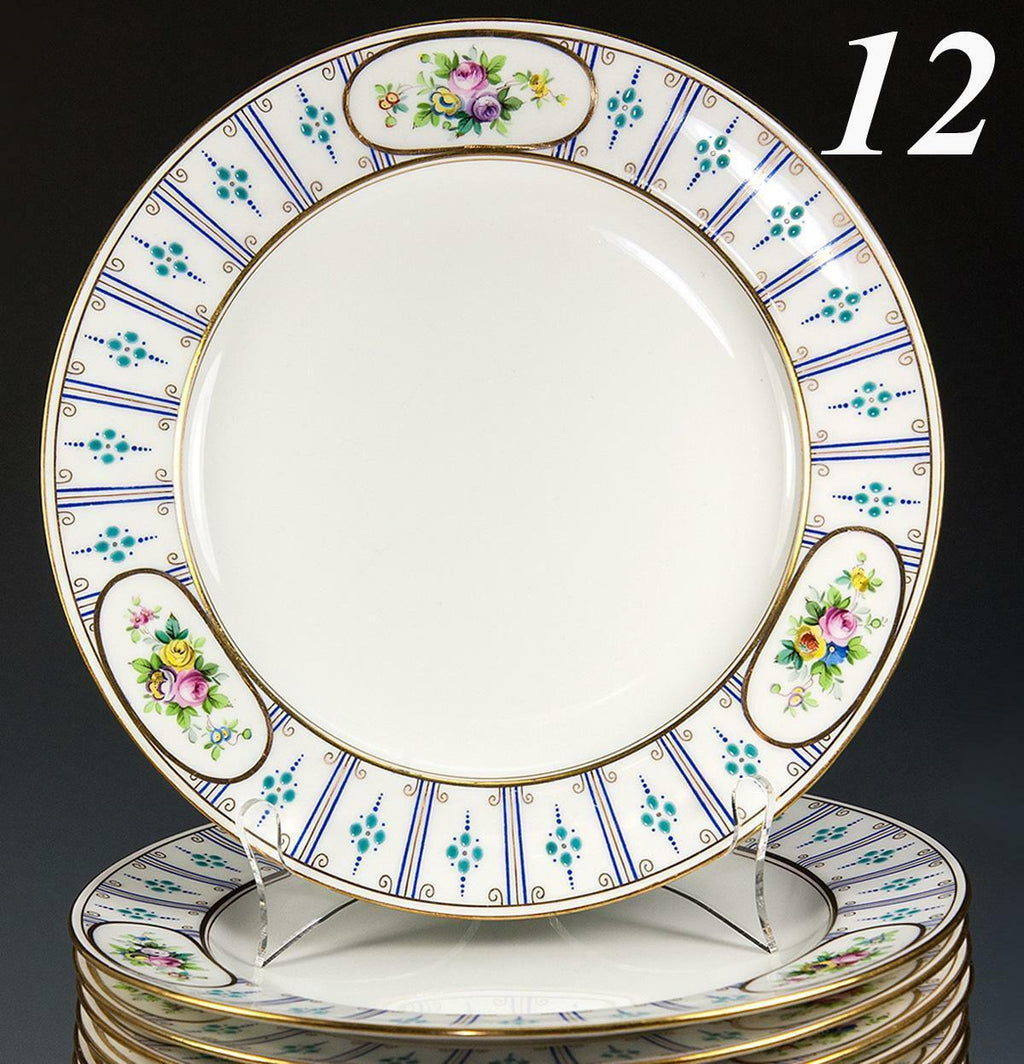 "Set of 12 Antique Minton Dinner Plates, 10.25"", Raised Enamel & Gold Rim c.1916"
