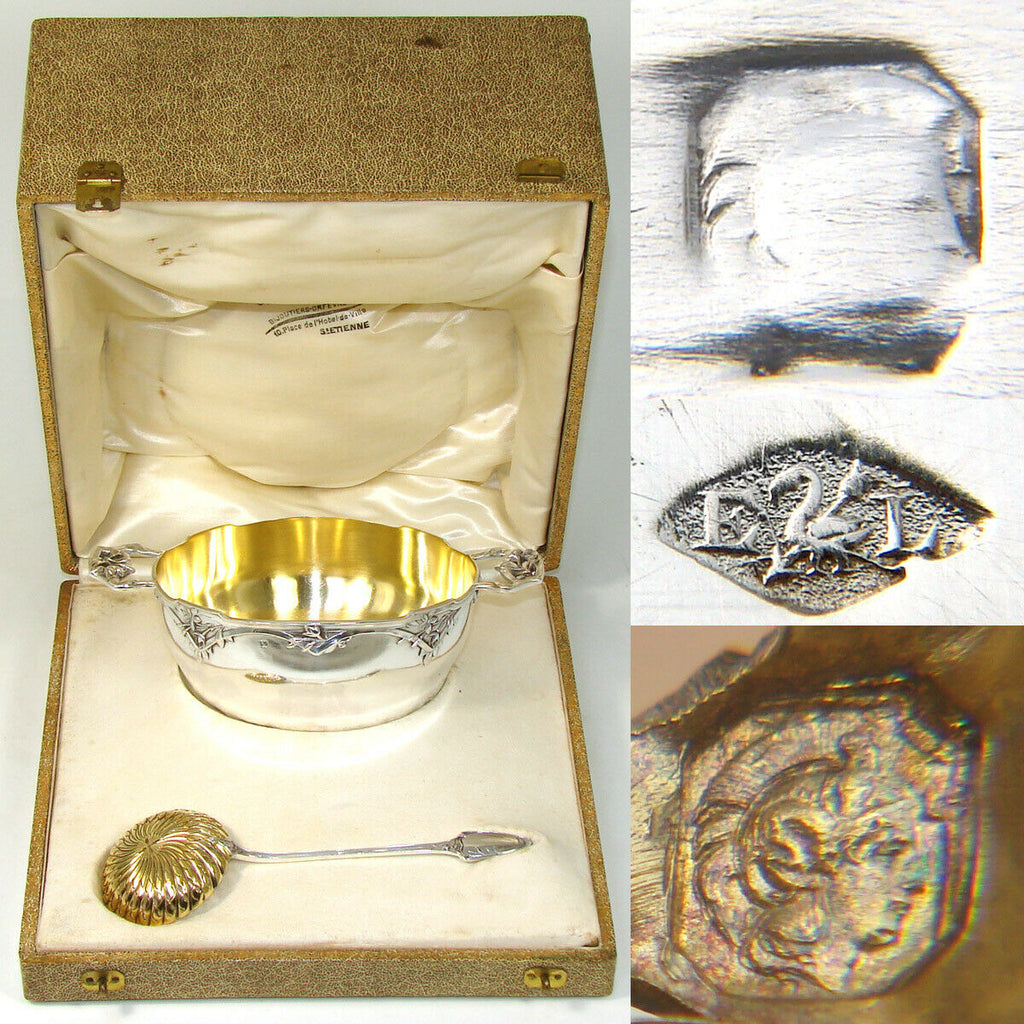 Fab Antique French Sterling Silver Sugar Bowl, Confiturier & Sifter Spoon in Box