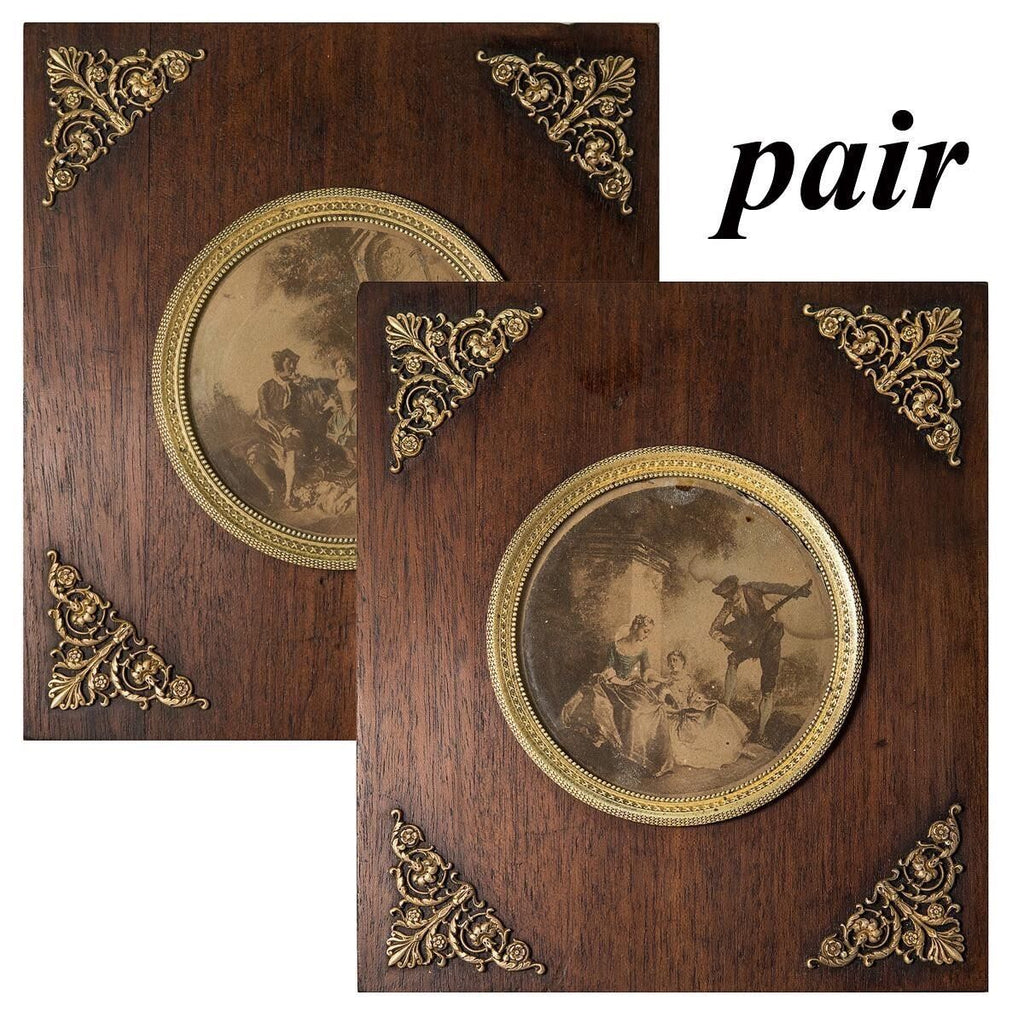PAIR: Antique French Empire Dore Bronze and Wood Frame Set, Romantic Intaglio