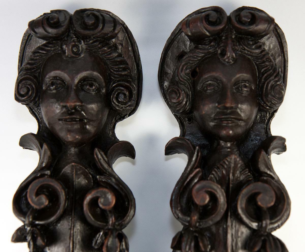 "Rare Pair 8"" Tall Hand Carved Figural Pillar Columns, Putti & Wings, 1700s"