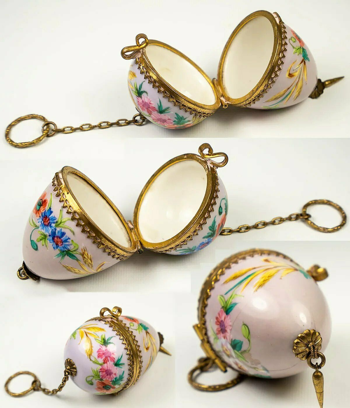 "Antique French Chatelaine Style HP Porcelain ""Egg"" Casket, Etui, Gilt Chain"