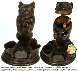 "Rare Antique Victorian Era Black Forest Carved 9 1/4"" Smoker's Stand, FOX Figure"