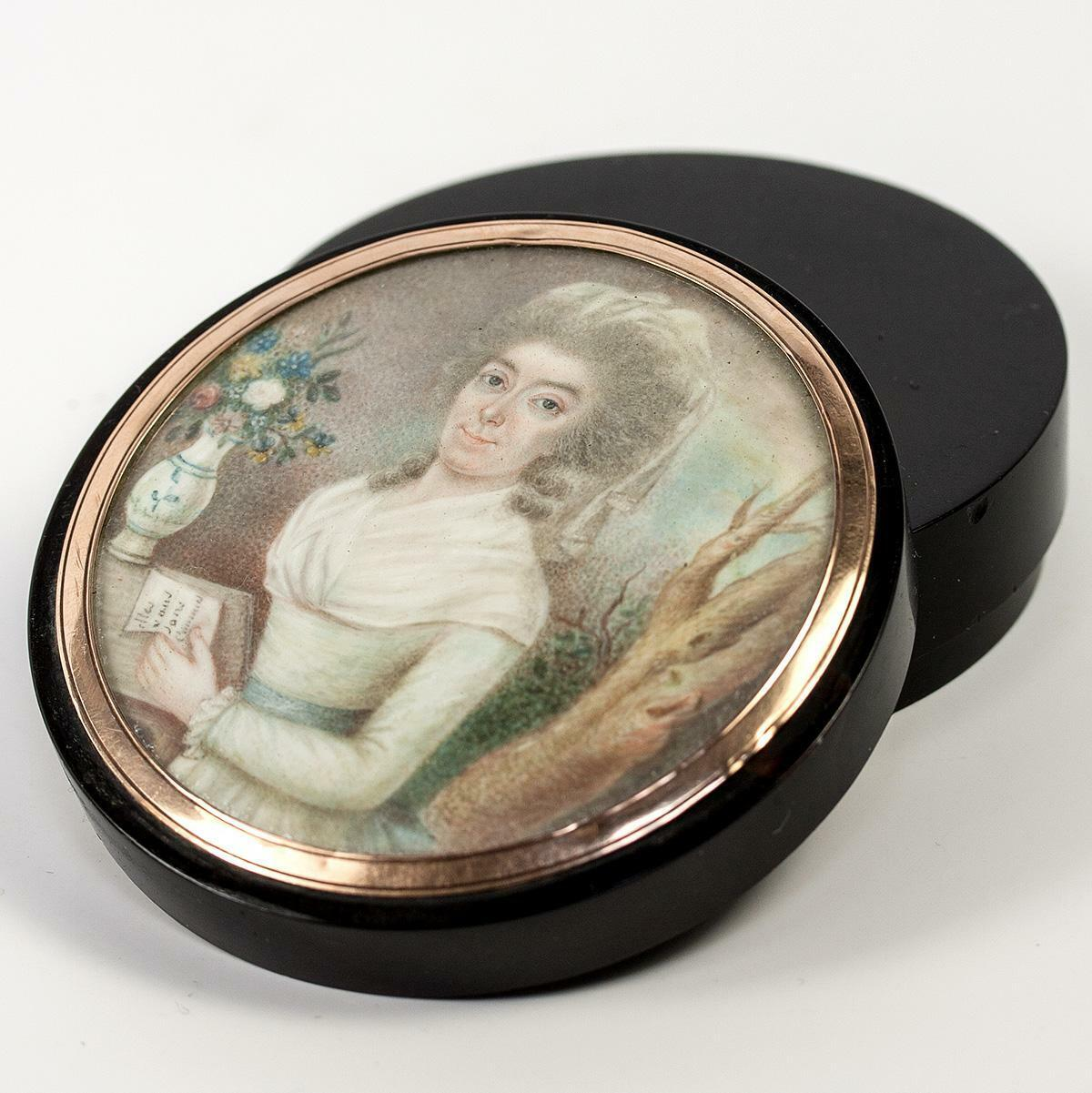 Antique French Snuff Box, Portrait Miniature Painting, 18k Gold Frame c1780-1810