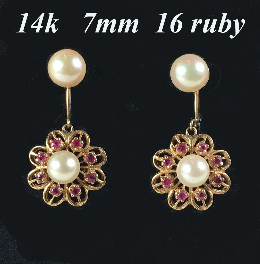 Vintage Ruby and Pearl 14k Gold Dangle Earrings, 7mm & 6mm Pearls, Pierced Ears