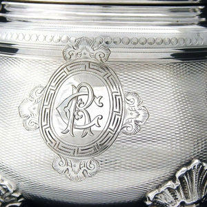 "Antique French Sterling Silver 5.5"" Sugar Casket, Lidded Sugar Bowl,  Guilloche"