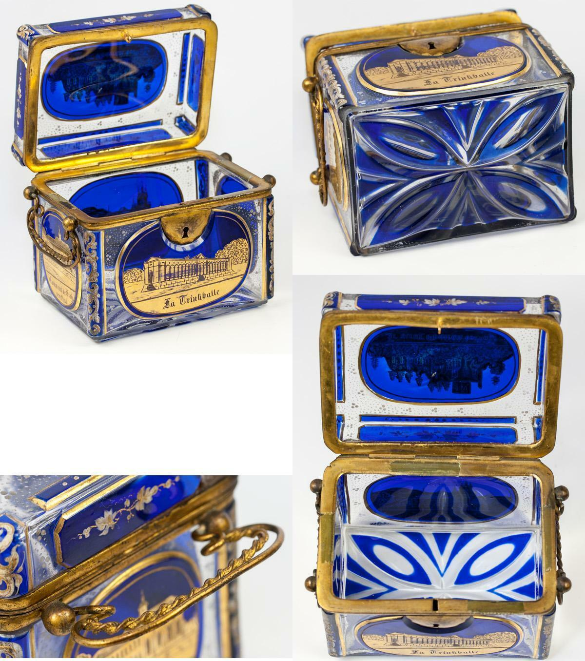 Antique Bohemian Glass Sugar Casket, MOSER Box, 5 Engraved Grand Tour Souv Scene