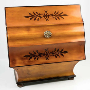 Antique c.1820s French Palais Royal Sewing, Jewelry Box, Lemonwood, Missing Tool