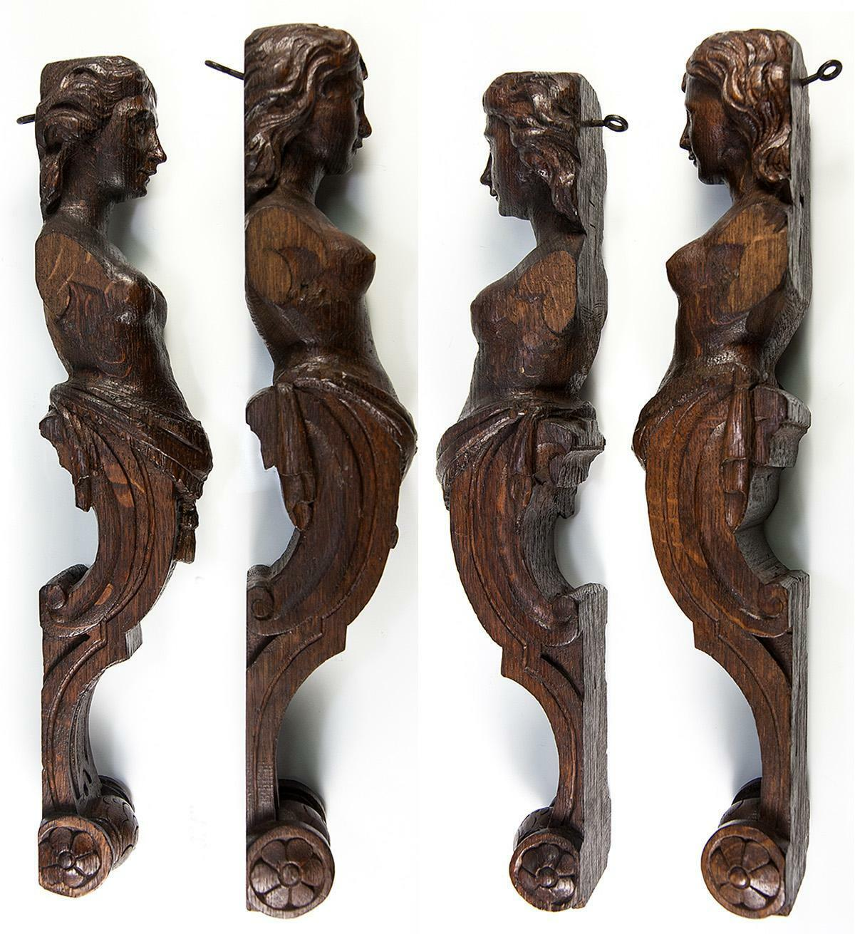 "Antique PAIR of Carved Wood Caryatid Figures, 15"" Tall, Cabinet or Architectural"