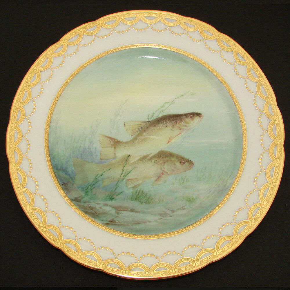 "Gorgeous PAIR Antique MINTON 9"" Cabinet or Fish Plate Set, HP & Signed Aquatic"