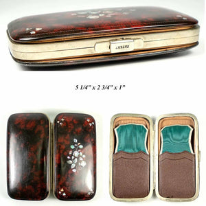 Antique French Cigar Case, Etui, Papier Mache, Pearl Inlays, Napoleon III Era