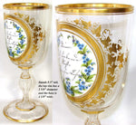 "Antique Bohemian 9.5"" Cug Glass Goblet, Layered Glass Medallion & HP Gold Enamel"