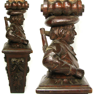 Antique Hand Carved Figural Support, Architectural Salvage from 19th c Furniture
