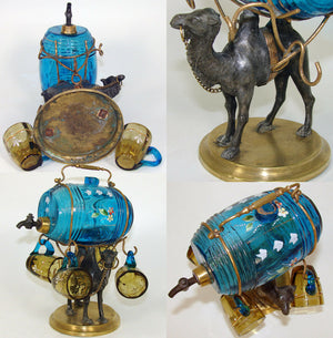 Antique French Napoleon III Liqueur Decanter, Enamel Liquor Barrel & Cups: Camel