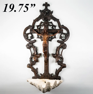 "Antique HC Black Forest Crucifix, Christ and Holy Font, 19.75"" Tall, Seashell"