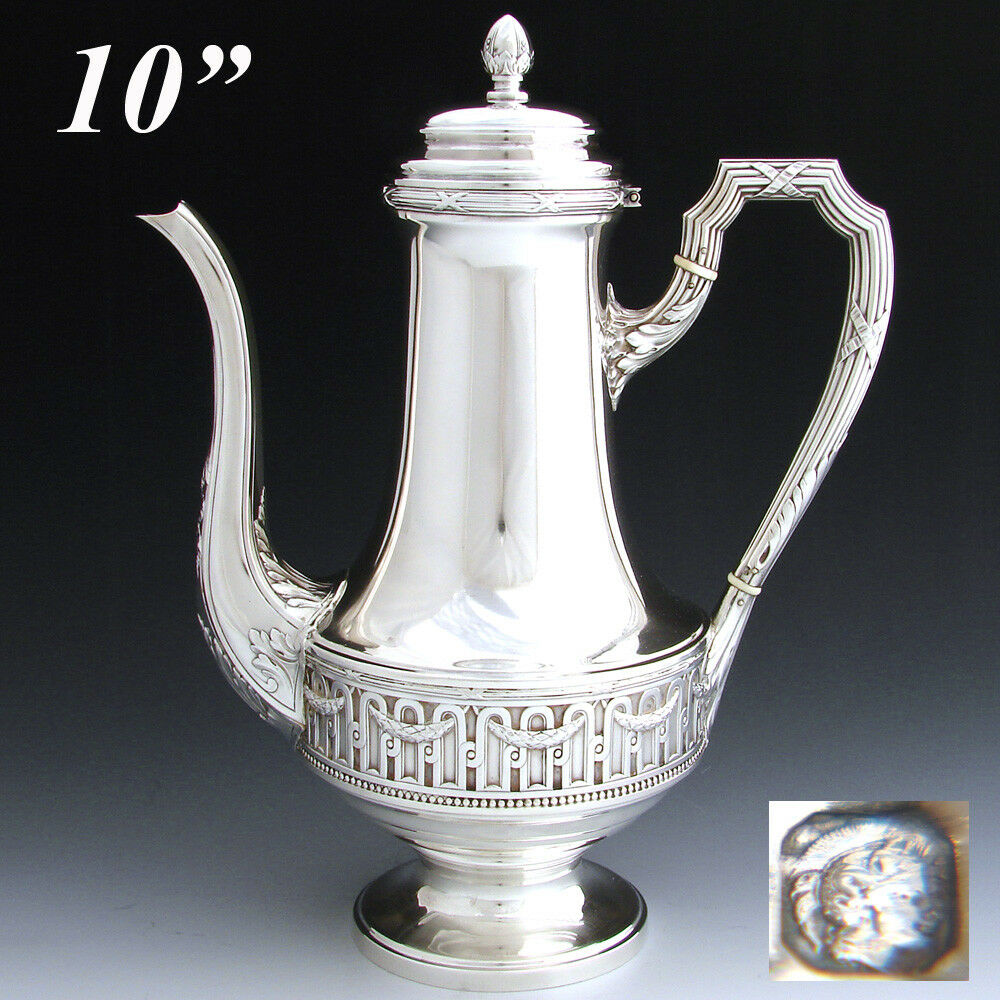 "Antique French 10"" Sterling Silver Coffee or Tea Pot, Classical or Empire Style"