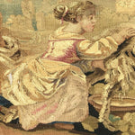 "RARE 55.5"" Long Antique French Aubusson Tapestry Fragment, Sofa Panel, Figural"