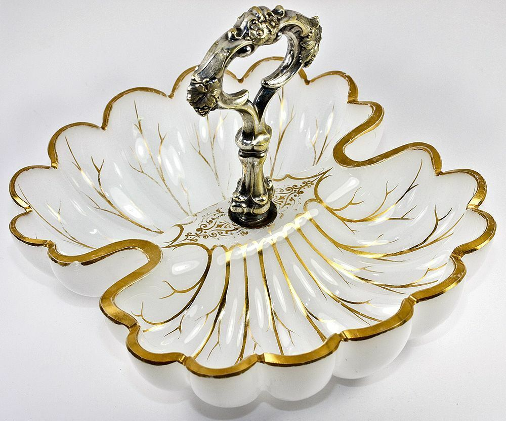 Fine Antique MOSER Opaline Service Dish, Double Scallop Shell with Silver Handle