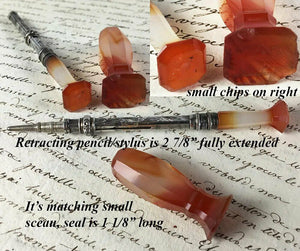 Antique Agate and Sterling Silver Stylus, Retracting Pencil and Sceau, Wax Seal