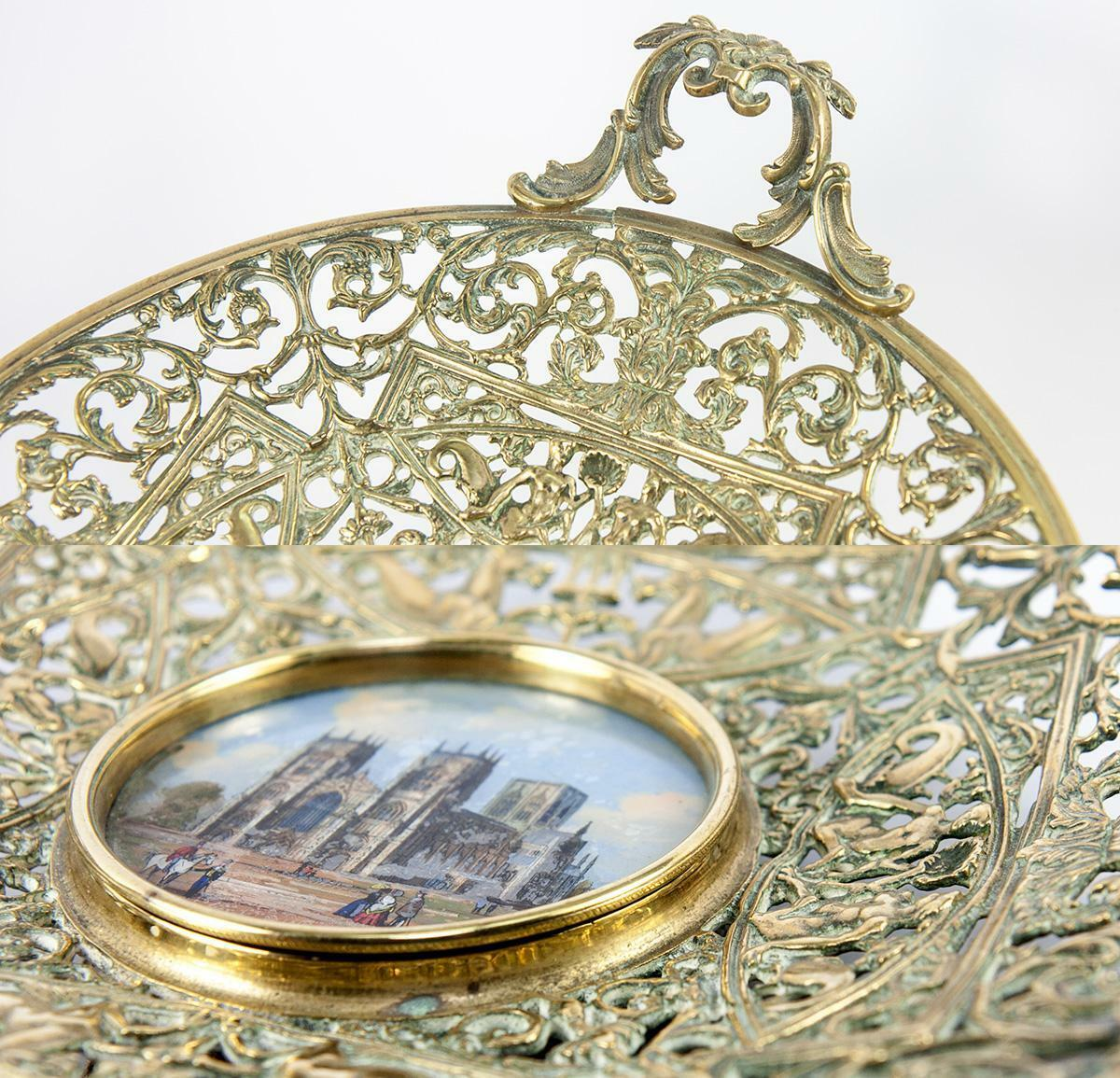 LG Antique Victorian Tazza, Eglomise Grand Tour Souvenir: York Minster Cathedral