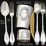 Antique French Sterling Silver 4pc Christening Set: Tumbler, Napkin Ring & More