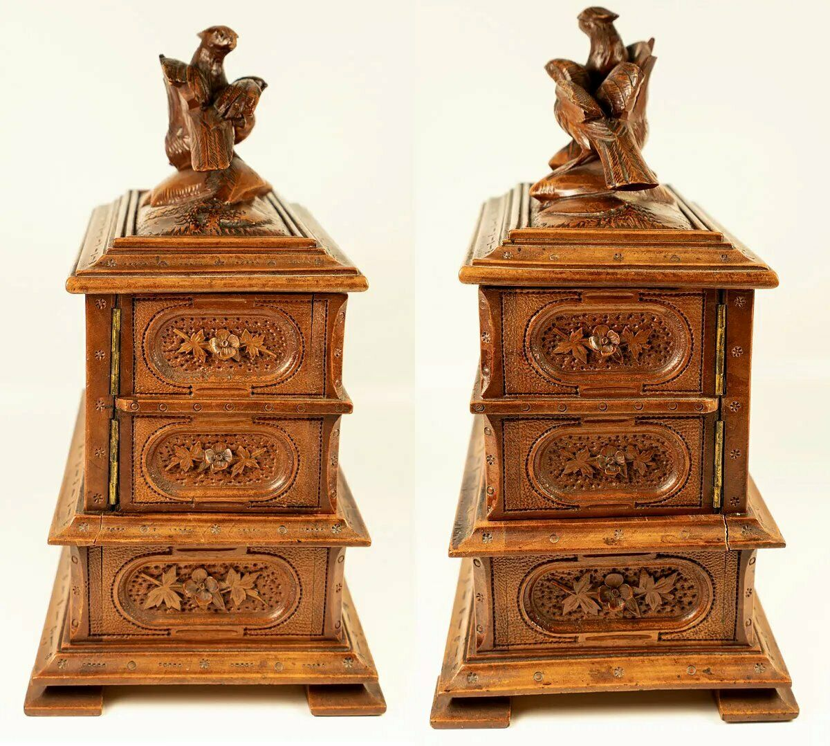 Antique Black Forest Carved Jewelry Chest, 3-Tier Box, Hunt Theme Bird Figures