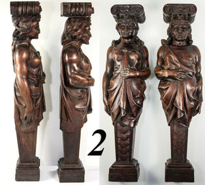 "FAB!  Antique Hand Carved Wood Caryatid Figures, PAIR, 15.5"" Tall, Man & Woman"