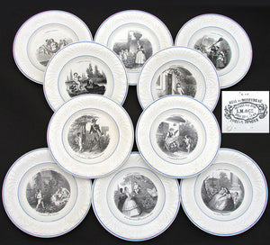 "Antique French Creil 10pc Cabinet Plate Set, ""L' Amour Partout"" Figural Theme"