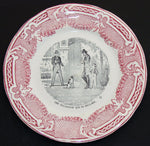 Charming Antique French St Amand et Hamage 2pc Cabinet Plate Set, Figural Scenes