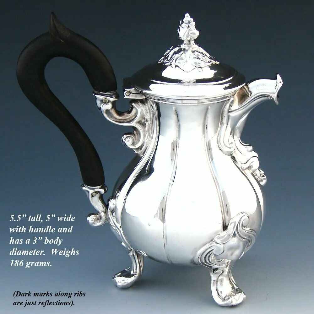 Antique French Sterling Silver Creamer or Solitaire Size Tea Pot, Ornate Foliate