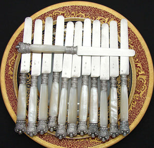 Elegant Antique French .800 (nearly sterling) Silver & Mother of Pearl Knife Set
