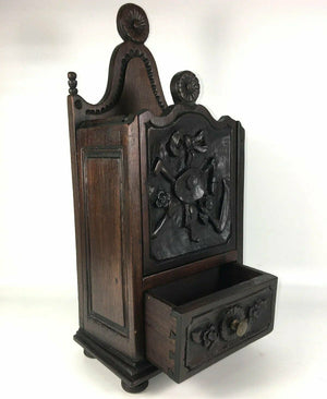 "Antique 19th c. French Salt Box, Cabinet, 14"" Tall, Hand Carved Country French"
