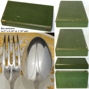 Fine Antique French PUIFORCAT Gothic Pattern Sterling Silver 35pc Flatware Set