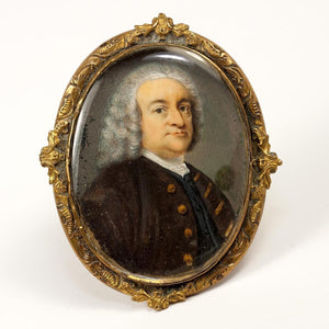 Antique c.1770s Portrait Miniature of Samuel Johnson (1709-1784), British writer buried at Westminster Abbey - set in Brooch Frame